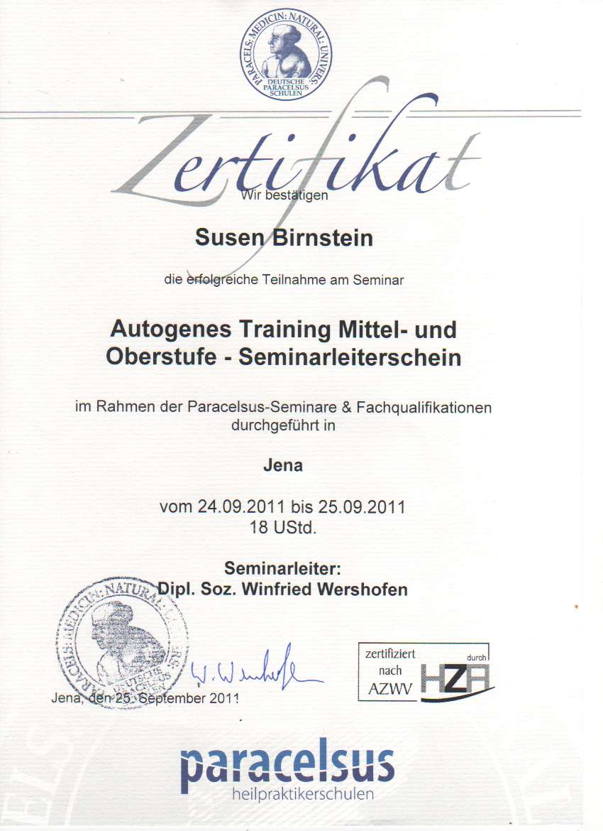 autogenes Training 1 Oberstufe