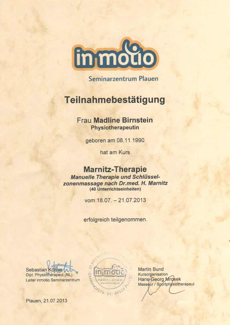 Marnitz-Therapie Madline Birnstein